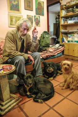 With his dogs